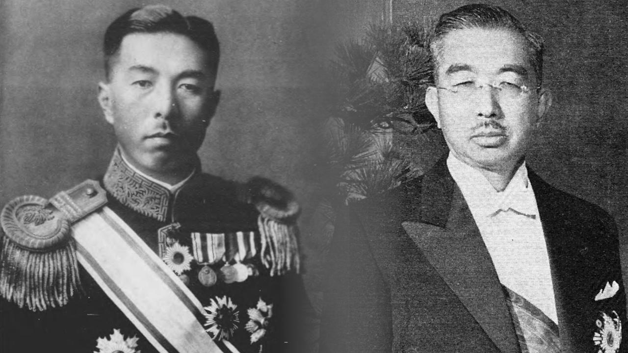 大礼服に勲一等瑞宝章を着用した近衞と正装姿の昭和天皇