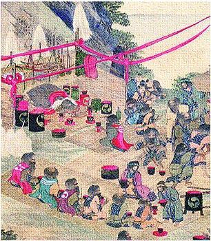江戸時代の絵師・平沢屏山が描いたアイヌ熊祭図